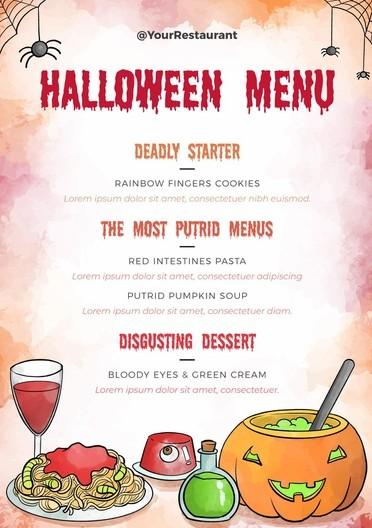 spooky menu card